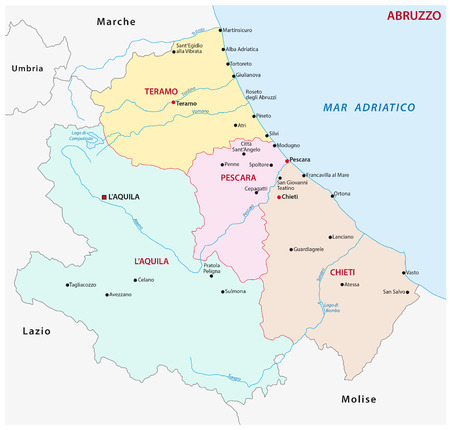 abruzzo administrative map, Italy Иллюстрация