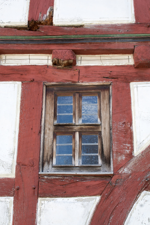 half timbered house: a window in an old half timbered house Stock Photo