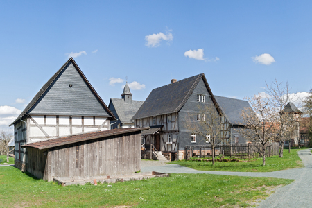 church group: half timbered houses with church group in the open air museum Hessenpark, Neu Anspach, Germany Editorial