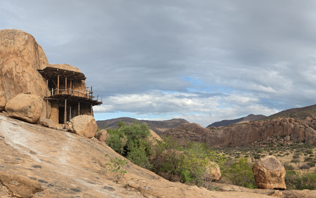 dwelling: Cave dwelling on the Guestfarm Omandumba in Erongo Mountains, Namibia