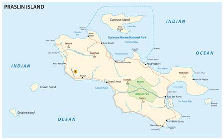 seychelles: detailed road map of the Seychelles Iseland praslin Illustration