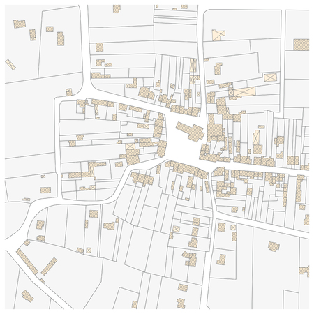 urbane: Imaginary cadastre map of territory with buildings and roads