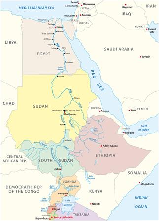 Nile River kaart Vector Illustratie