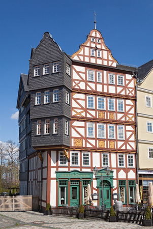 half timbered house: half timbered house at the Market Square, Hessenpark, Germany