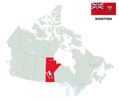 manitoba: outline map of the Canadian Manitoba province with flag Illustration
