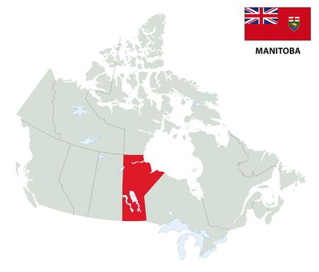 overzichtskaart van de Canadese provincie Manitoba met vlag