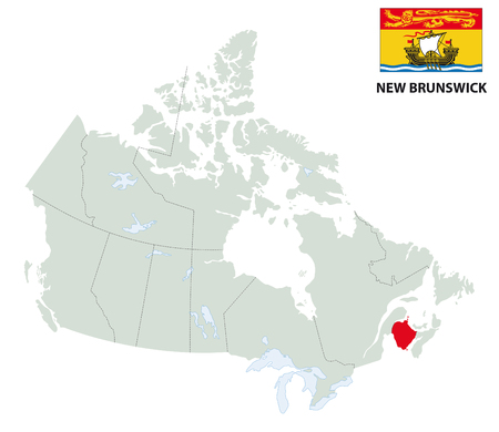 outline map of the Canadian province of New Brunswick with flag