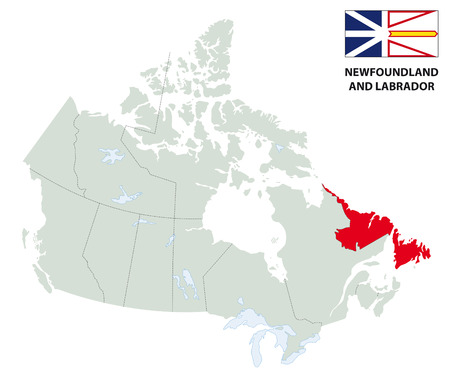 newfoundland: outline map of the Canadian province Newfoundland and Labrador with flag Illustration