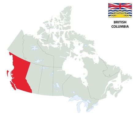 overzichtskaart van de Canadese provincie British Columbia met vlag