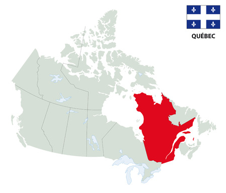 globally: outline map of the Canadian province Quebec with flag Illustration