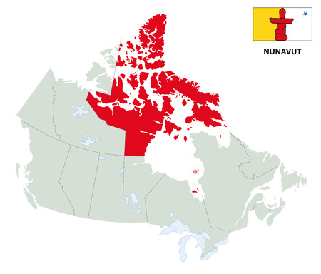 outline map of Canadas Nunavut territory with flag Illustration