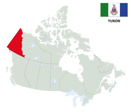 overzichtskaart van het grondgebied Yokon Canada's met vlag Stock Illustratie