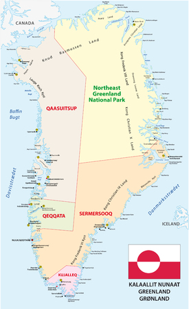 national parks: administrative and political map with flag of the state greenland