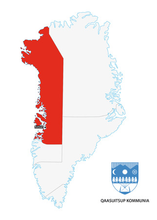 municipalities: administrative map of Greenland Qaasuitsup Municipality with coat of arms