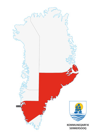 administrative map of Greenland Sermersooq Municipality with coat of arms