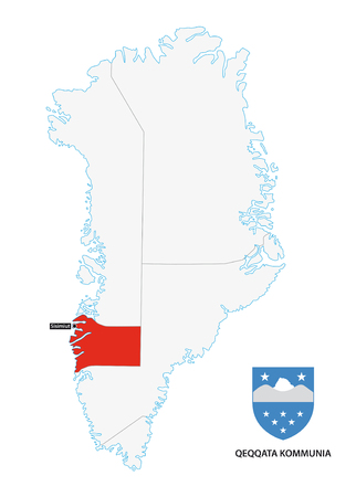 municipalities: administrative map of Greenland Qeqqata Municipality with coat of arms Illustration