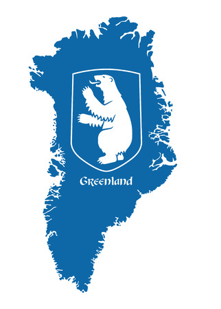 greenland: greenland vector map with coat of arms