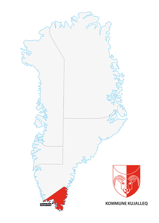 municipalities: administrative map of Greenland Kujalleq Municipality with coat of arms