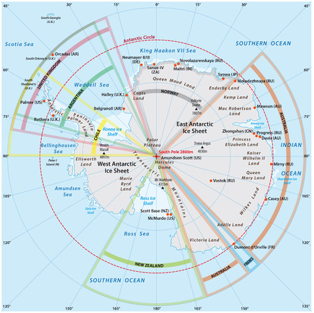 political map of Antarctica with the territory claims Illustration