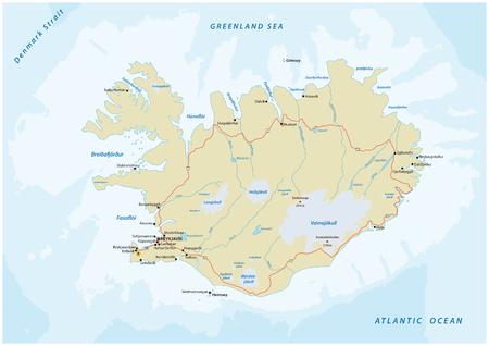 gedetailleerde kaart van de Republiek IJsland weg