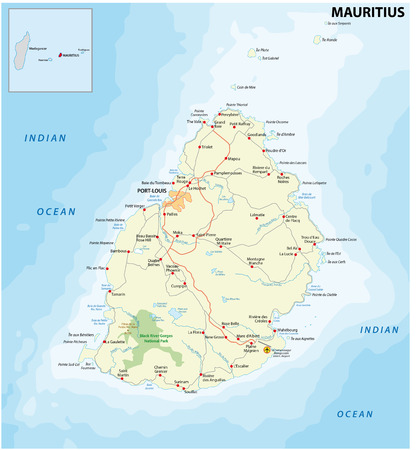 mauritius: detailed map of Mauritius with main cities and roads
