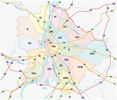 Budapest mappa amministrativa e la strada