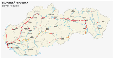 slovak republic: road map of Slovak republic with main roads