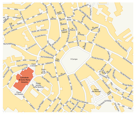 siena italy: map of the historic center of the Tuscan city of Siena, Italy