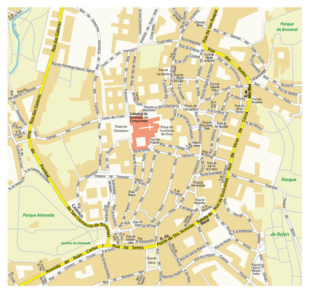 Map Of The Historic Center Of The Tuscan City Of Siena Italy