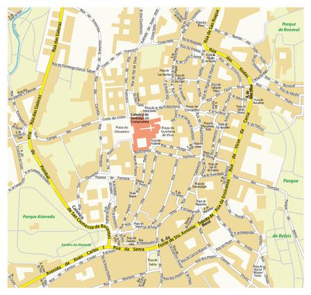 pilgrimage: downtown map the Galician capital of Santiago de Compostela, Spain Illustration