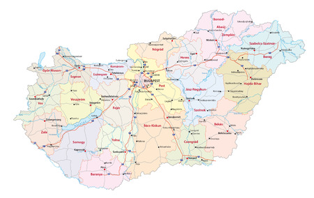 detailed road and administrative map of Hungary with the main cities and rivers Фото со стока - 56478283