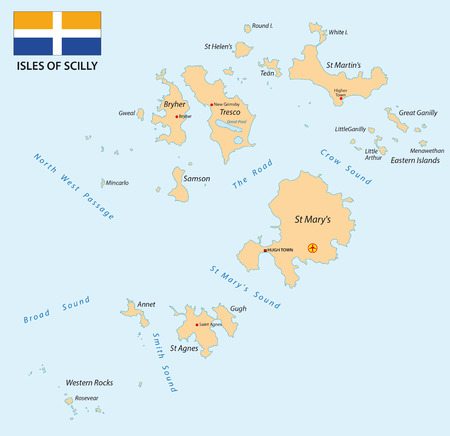 british isles: The Isles of Scilly map with flag