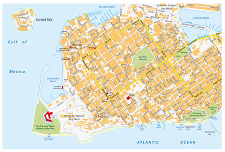 key west road map with road names, florida, united states Illustration