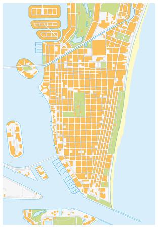Miami Beach detailed vector street map florida,