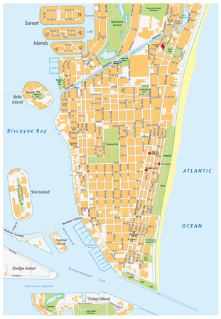 Miami Beach detailed vector street map with names, florida,