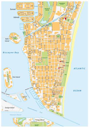 miami south beach: Miami Beach detailed vector street map with names, florida,