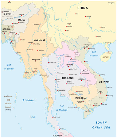 south east asia: vector map of the states in south east asia Illustration