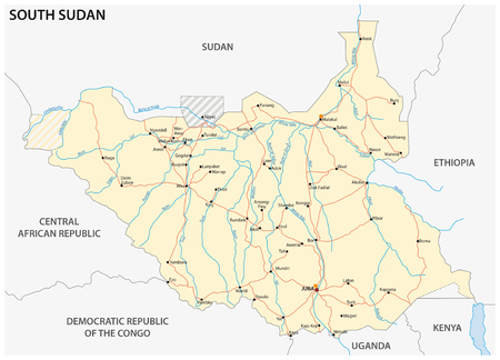 south sudan: vector road map of the Republic of South Sudan Illustration