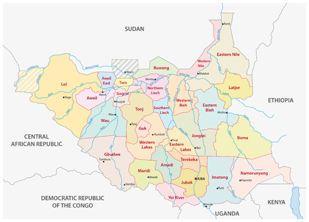 south sudan: vector administrative and political map of the Republic of South Sudan