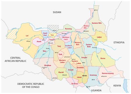vector bestuurlijke en politieke kaart van de Republiek van Zuid-Soedan