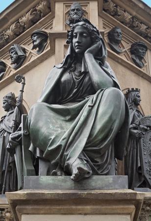 gutenberg: figure of the Gutenberg monument on the horse market in Frankfurt, Germany