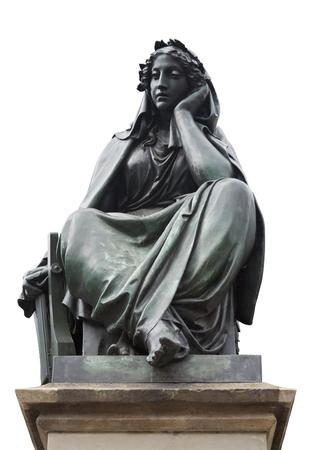 gutenberg: figure of the Gutenberg monument on the ross market in Frankfurt, Germany, Isolated