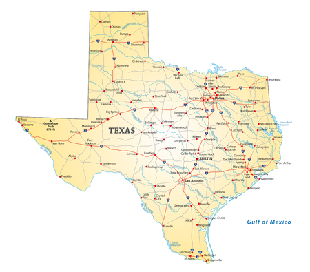 Road map of the US state texas Illustration