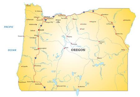kaart van de Amerikaanse staat Oregon Road Stock Illustratie
