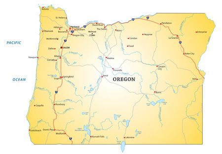 oregon: Road map of the US state oregon Illustration