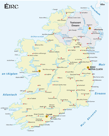 gaelic: map of the Irish republic in Irish Gaelic language