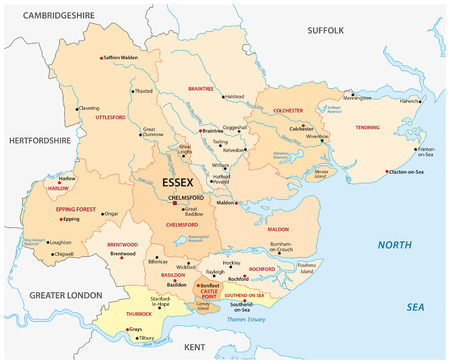 uk: map of the administrative county essex, england Illustration