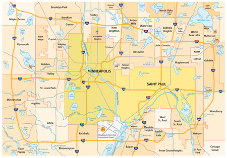 paul: Minneapolis-Saint Paul road and administrative map