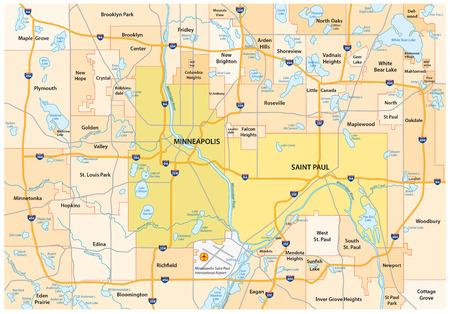 Minneapolis-Saint Paul road and administrative map