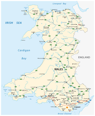 principal: road map of the British territory of wales Illustration